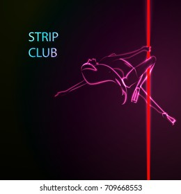 Vector illustration of a strip club concept, neon girl.
