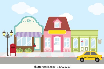 Vector illustration of strip mall shopping center. Each store is individually grouped and can be separated easily. No gradient used.