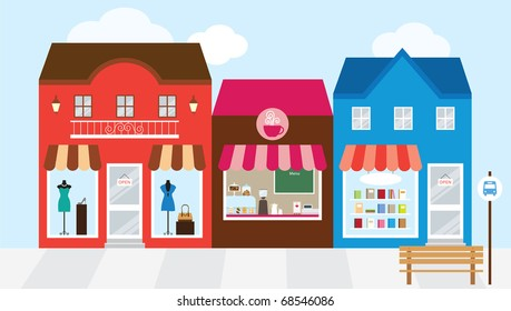 Vector illustration of strip mall shopping center.