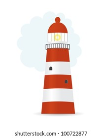 Vector illustration of striped lighthouse
