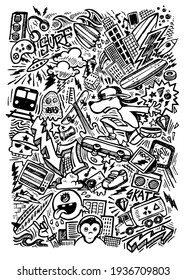 Vector illustration in stripped strokes and in cartoon style of elements related to street, surf and skate culture.