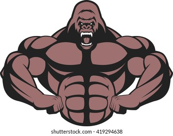 Vector illustration of a strong gorilla, with big biceps.