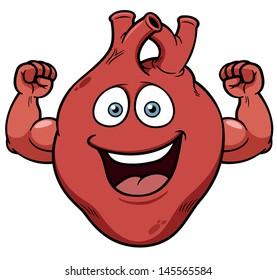Vector illustration of Strong heart cartoon