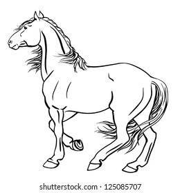 Vector illustration of a strong punch horse