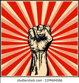 Vector illustration of strong raised fist in a ray red background in the style of soviet propaganda posters.
