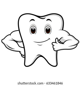 vector illustration of Strong tooth cartoon