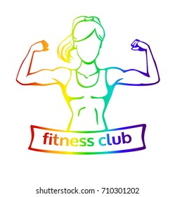 Vector illustration with strong woman doing bicep curl. Fitness club logo template with a place for your name or inscription. Colorful female silhouette isolated on white background.