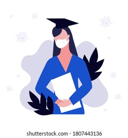 Vector illustration of student girl or woman in mask with diploma or certificate around viruses. Student with square academic cap on head. Stay safe concept