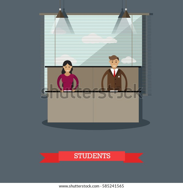 Vector illustration of students boy and girl at the university. Classroom interior. Lecture, seminar. Higher education concept design element in flat style.