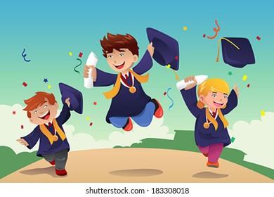 A vector illustration of students celebrating graduation