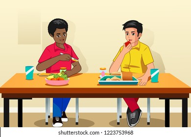 A vector illustration of Students Eating Breakfast in School