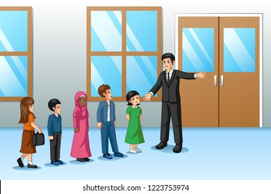 A vector illustration of Students Lining Up Outside The Classroom With Teacher
