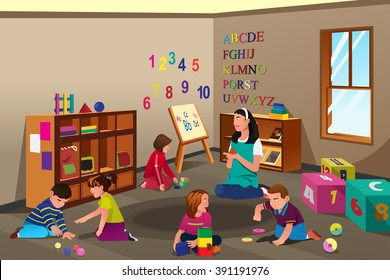 A vector illustration of students studying in class with teacher
