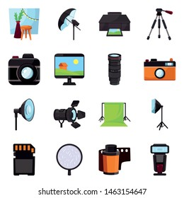 Vector illustration of studio and photo icon. Set of studio and equipment vector icon for stock.