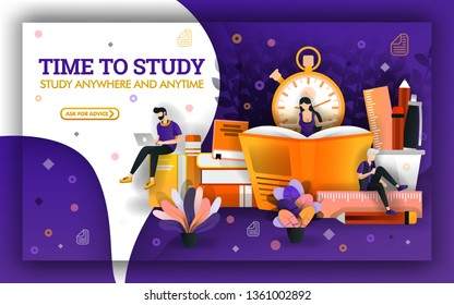 Vector illustration of study time. Education current events require students to take advantage of study time. student learning with technology and books to improve learning skills and learning tools
