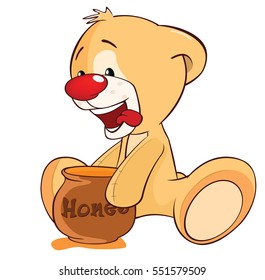 Vector Illustration of a Stuffed Toy Bear Cub and a Honeypot. Cartoon Character