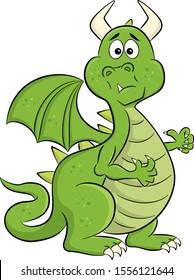vector illustration of a stunned cartoon dragon