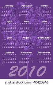 Vector Illustration of style design Calendar for 2010