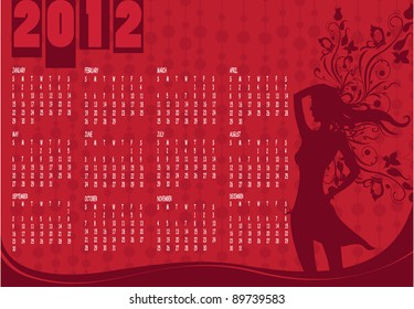 Vector Illustration of style design Calendar for 2012 With sexy girl