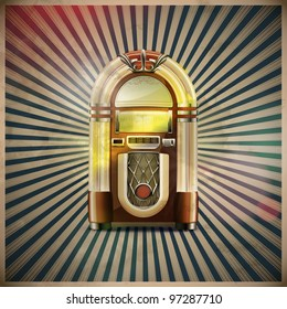 Vector illustration of style detailed classic juke box on retro grunge background