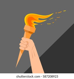 Vector illustration of style flat with the image of the raised hand holding a torch