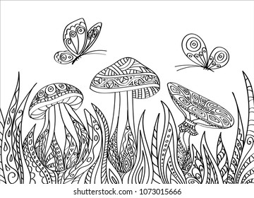 Vector illustration in the style of Zentangle. Black-and-white butterflies and mushrooms in high the grass. Coloring book for kids and adults