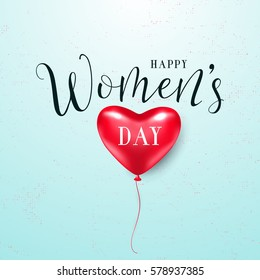 Vector illustration of stylish 8 march womens day with lettering text sign and red heart balloon for greeting card, banner, gift packaging, sale or party templates isolated on light grunge background