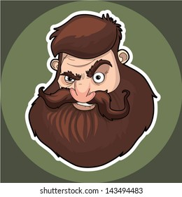 Vector illustration of stylish bearded man for your design
