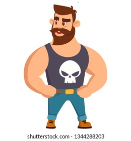 Vector illustration of stylish Bearded Men Strong Body in Mike with Skull and Smile on Face. in Cartoon Flat Style