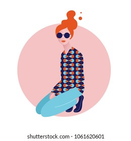 Vector illustration of stylish beautiful young woman with sunglasses siting on one's lap, Retro style in modern interpretation. Pop art 60s - 70s.