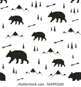 Vector illustration with stylish cartoon seamless pattern. Bear, pine trees, arrows and mountains. Black and white doodle style print design, childish ink background