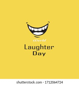 Vector illustration of stylish colorful text for World Laughter Day. Illustration Of World Laughter day Background With Smiley Emoticons.