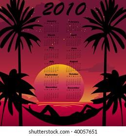 Vector Illustration of stylish design Calendar for 2010 with summer background.