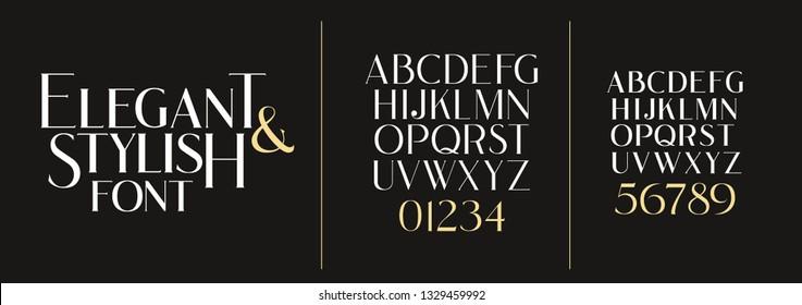 vector illustration. Stylish elegant vector composite font. set of letters english alphabet. uppercase letters, lowercase letters and numbers