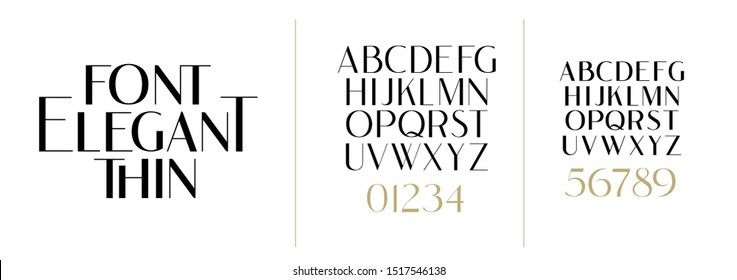 vector illustration. Stylish elegant thin vector composite font sans serif. set of letters English alphabet. uppercase letters, lowercase letters and numbers