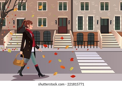 A vector illustration of stylish girl walking in New York city