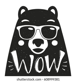 Vector illustration with stylish hipster bear in sunglasses. Lettering word Wow. Typography poster with wild animal