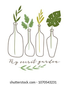 Vector illustration. stylish home decor. Eco poster with text - ' My secret garden'. Gardening print for t-shirt and eco friendly design.