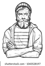 Vector illustration of a stylish man in age with a full beard and mustaches wearing beanie hat, raincoat and sailor striped shirt. Close-up portrait of a captain, yachtsman, archaeologist, expedition.