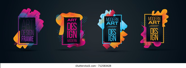 vector illustration. stylish modern hipster frames made of colorful lines of stylish liquid design element for posters, cards, presentations, flyers and covers