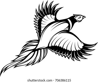 vector illustration of a stylish monochrome flying pheasant.