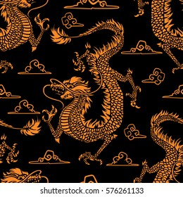 Vector illustration. Stylish seamless pattern with traditional eastern dragons. EPS 8.