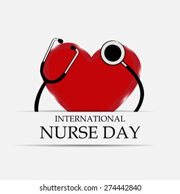 Vector illustration of stylish shiny Heart for International Nurse Day.