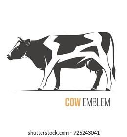 Vector illustration of a stylish spotted holstein cow. Emblem, logo, label design.