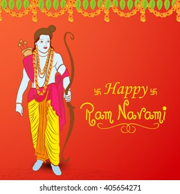Vector illustration of stylish text with decorated background for Ram Navami festival with Lord Ram.