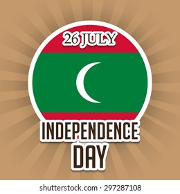 Vector illustration of a stylish text for Happy Independence Day with Maldives flag.