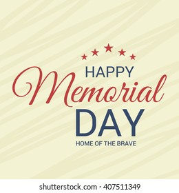 Vector illustration of a stylish text for Happy Memorial Day.