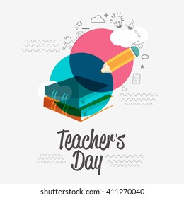 Vector illustration of a stylish text for Happy Teacher's Day.