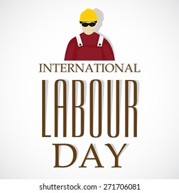 Vector illustration of stylish text for International Labour Day in gray background.