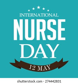 Vector illustration of stylish text for International Nurse Day with brown ribbon.